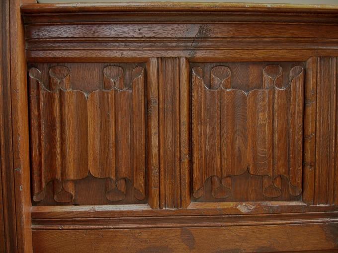 Linenfold carved panels bed paneling