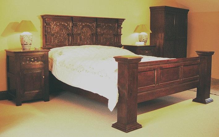 Merchants bed hand carved oak bedside cabinets for Replica furniture uk