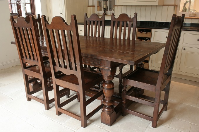 17th Century Style Slat Back Chairs And Dining Table
