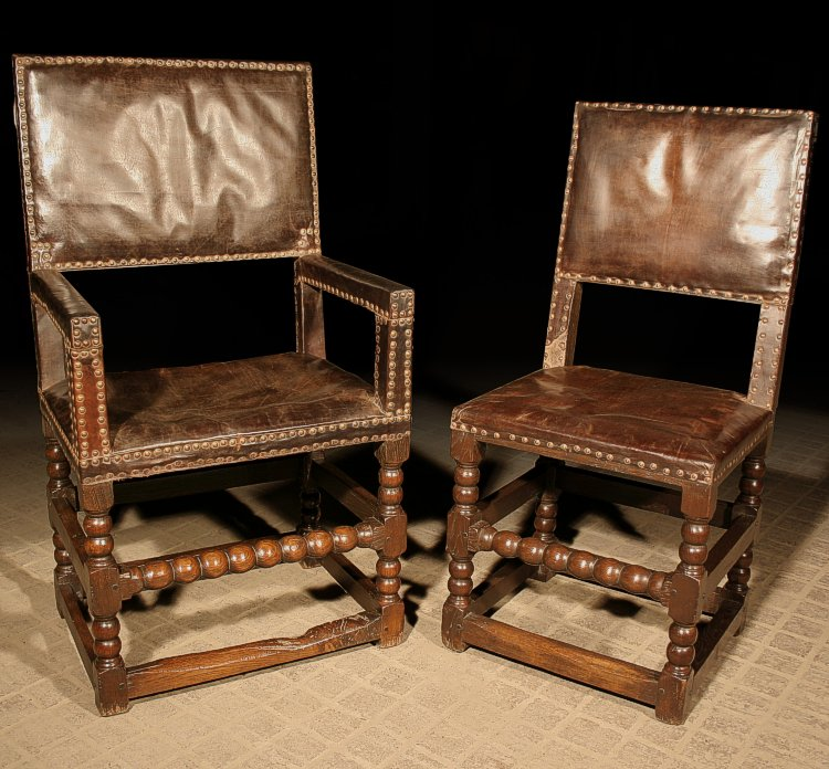 17th Century Style Leather Dining Chairs