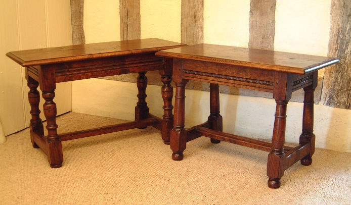 Oak benches long stools oak occasional tables carved for Replica furniture uk