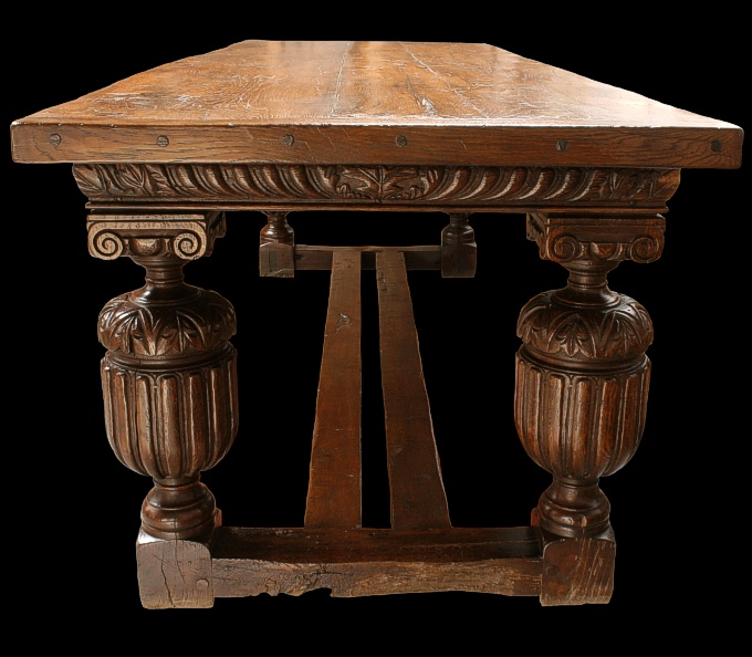 Elizabethan Style Oak Carved Table