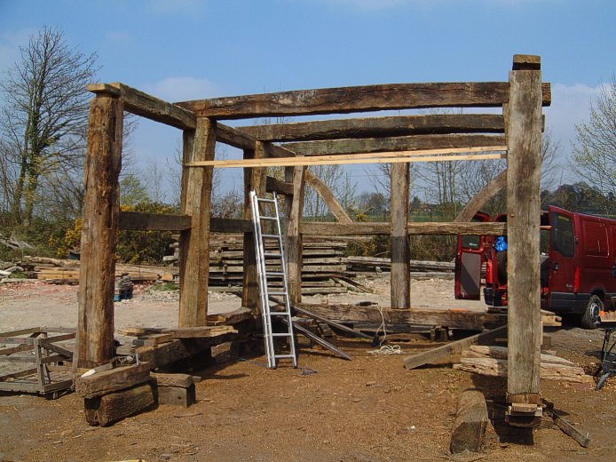 Setting out and fitting the three tie beams that will support the main ...